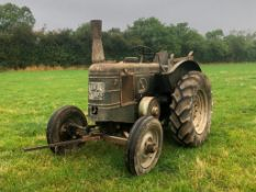 1950 Field Marshall 2wd tractor with rear winch on 13-28 rear wheels and tyres. Reg No: HVE 370