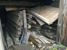 Quantity miscellaneous timber to include scaffolding boards, located in the yard