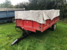 1983 ETO-MIL Engineering 6t drop side trailer single axle with manual tailgate and grain chute on 11