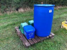 Quantity molasses and feeding buckets