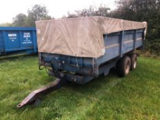 1992 AS Marston FF10 10t grain trailer twin axle with manual tailgate and grain chute on 13.0/65-18