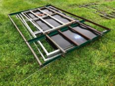 3No. galvanised 10ft hurdles with sheeted bottom