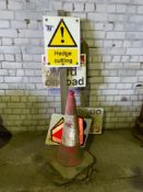 Warning signs and road cones