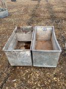2 x Galvanised troughs. (1.25m x 0.65m)