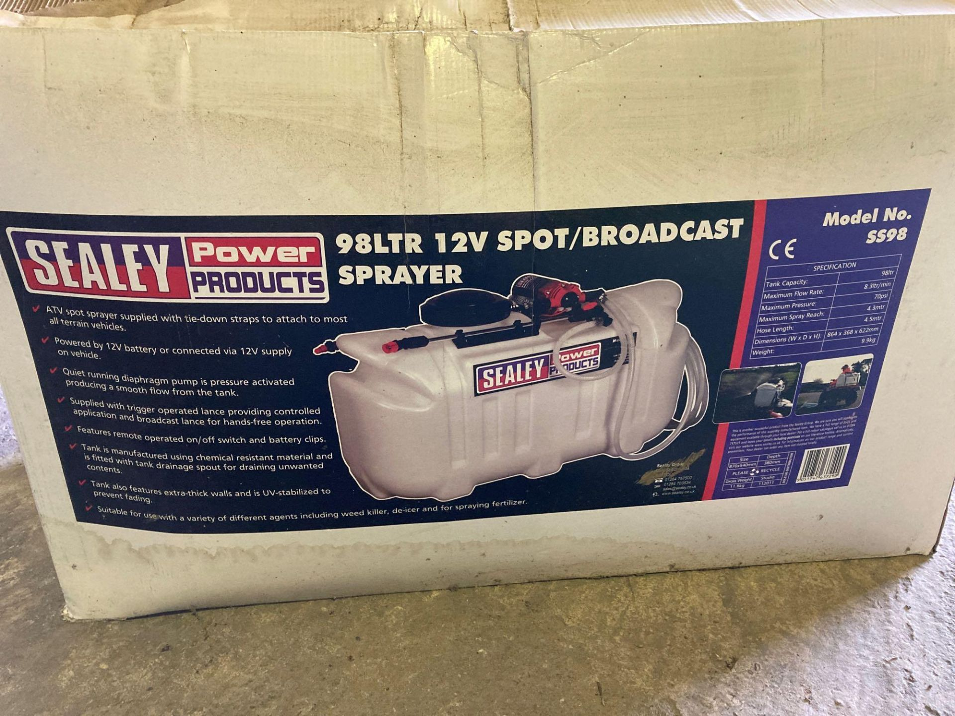 Sealey SS98 broadcast/spot sprayer, 98 litre, 12 volt c/w two lances - Image 2 of 4