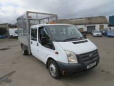 12 reg FORD TRANSIT 100 T350 DOUBLE CAB CAGED TIPPER, 1ST REG 08/12, TEST 08/21, 108655M