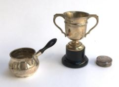 A small trophy cup by Joseph Gloster Ltd, Birmingham 1966, 10cm high; a small silver jug with turned