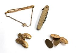 Pair of 9ct gold cufflinks together with one another, 9ct gold penknife and a 9ct gold tie clip.