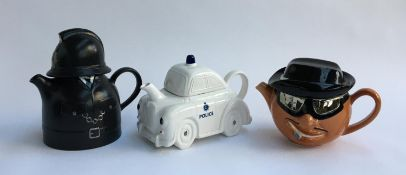 A collection of Carlton ware novelty teapots, 'Gangster', 'Policeman' and 'Police Car'