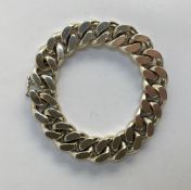 Heavy silver metal bracelet (no obvious hallmark) with hidden link clasp, approx 133g