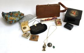 A mixed lot to include Russian lacquered box; handbag; costume jewellery; coral necklace; purse etc