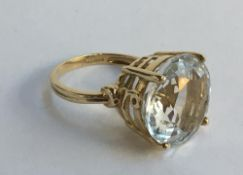 9ct gold ring set with a large white stone, gross weight 6g, size N.5