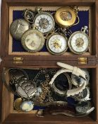 A mixed lot of various fob watches, wrist watches, and fob chains