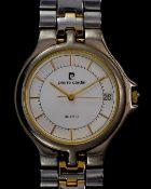 A Pierre Cardin steel and gold plate gent's wrist watch, quartz, 33mm diameter