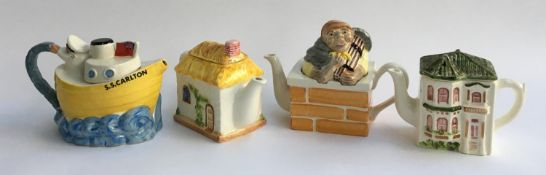 A lot of Carlton ware novelty teapots and houses (4)