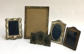 A lot of five silver picture frames, the largest 31x23cm, various shapes and sizes