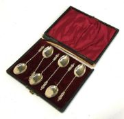 A box of six sterling silver apostle spoons, marked 1902