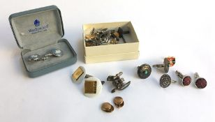 Mixed lot of cufflinks and buttons, some silver plus a pair of Wedgewood cufflinks depicting a