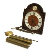 A mahogany hanging wall clock, with pendulum, weights etc