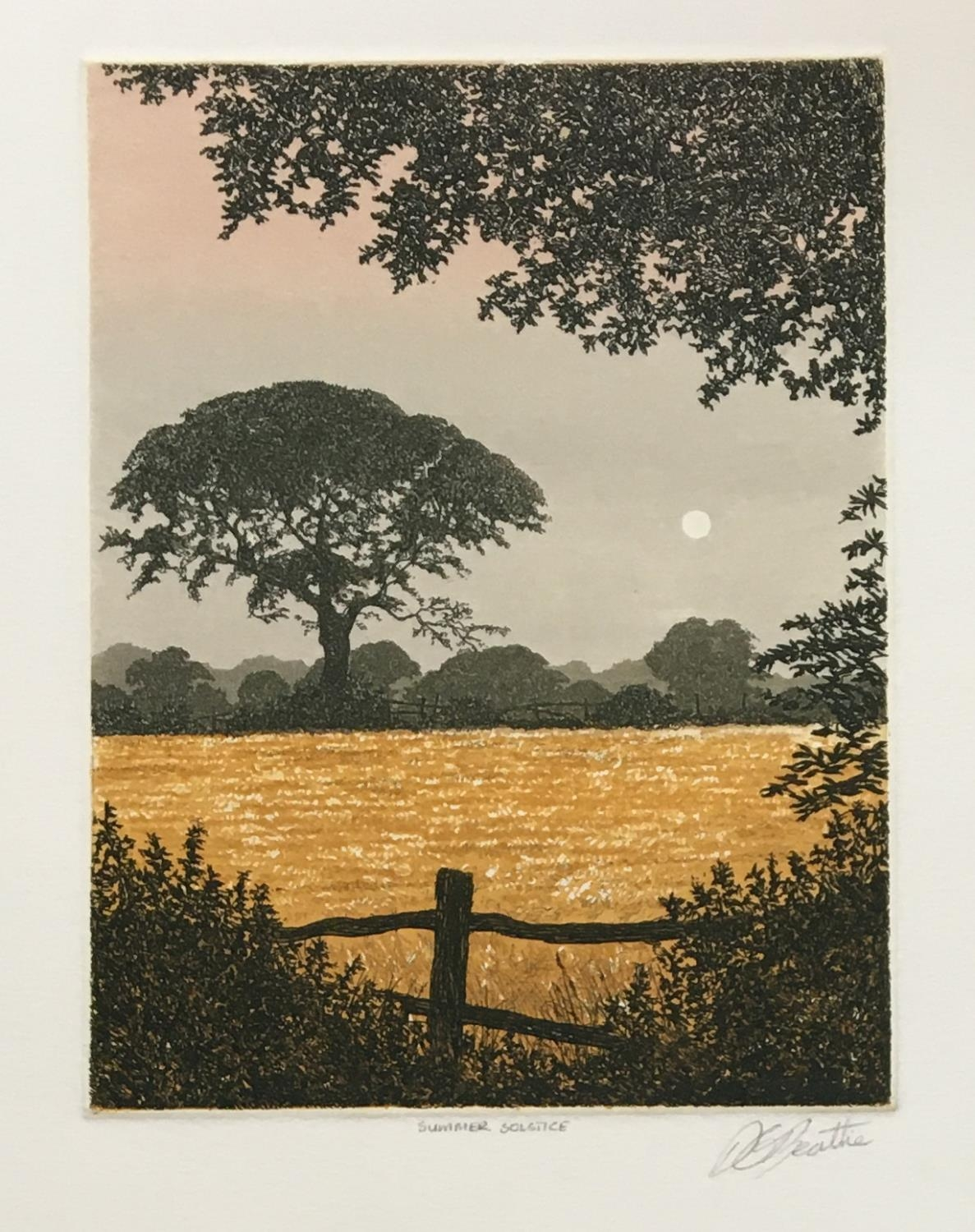 David G Beattie (b.1955) 'Valley Between' and 'Summer Solstice', coloured etchings signed and titled - Image 3 of 3