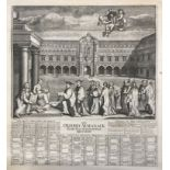 Oxford Almanack (The), engraved plate 1733 and 1734 with scenes of St. John Baptist's College and