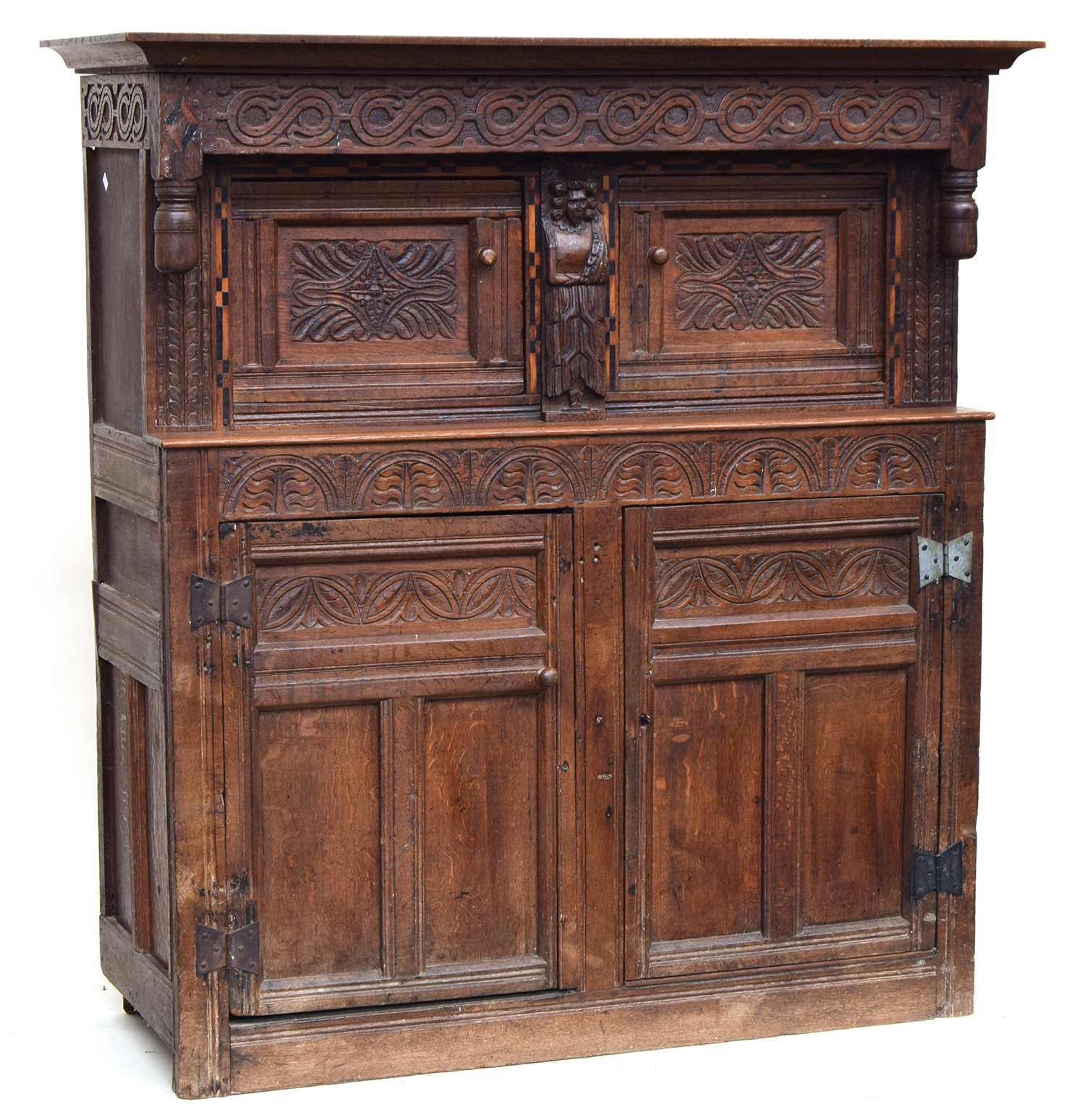 A 17th century joined oak court cupboard, boarded top, the upper section with turned pendants and - Image 2 of 3