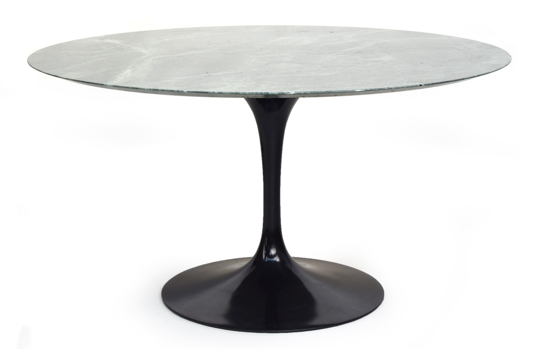 A circular Eero Saarinen for Knoll circular tulip dining table, the top of Verdi Alpi coated marble,