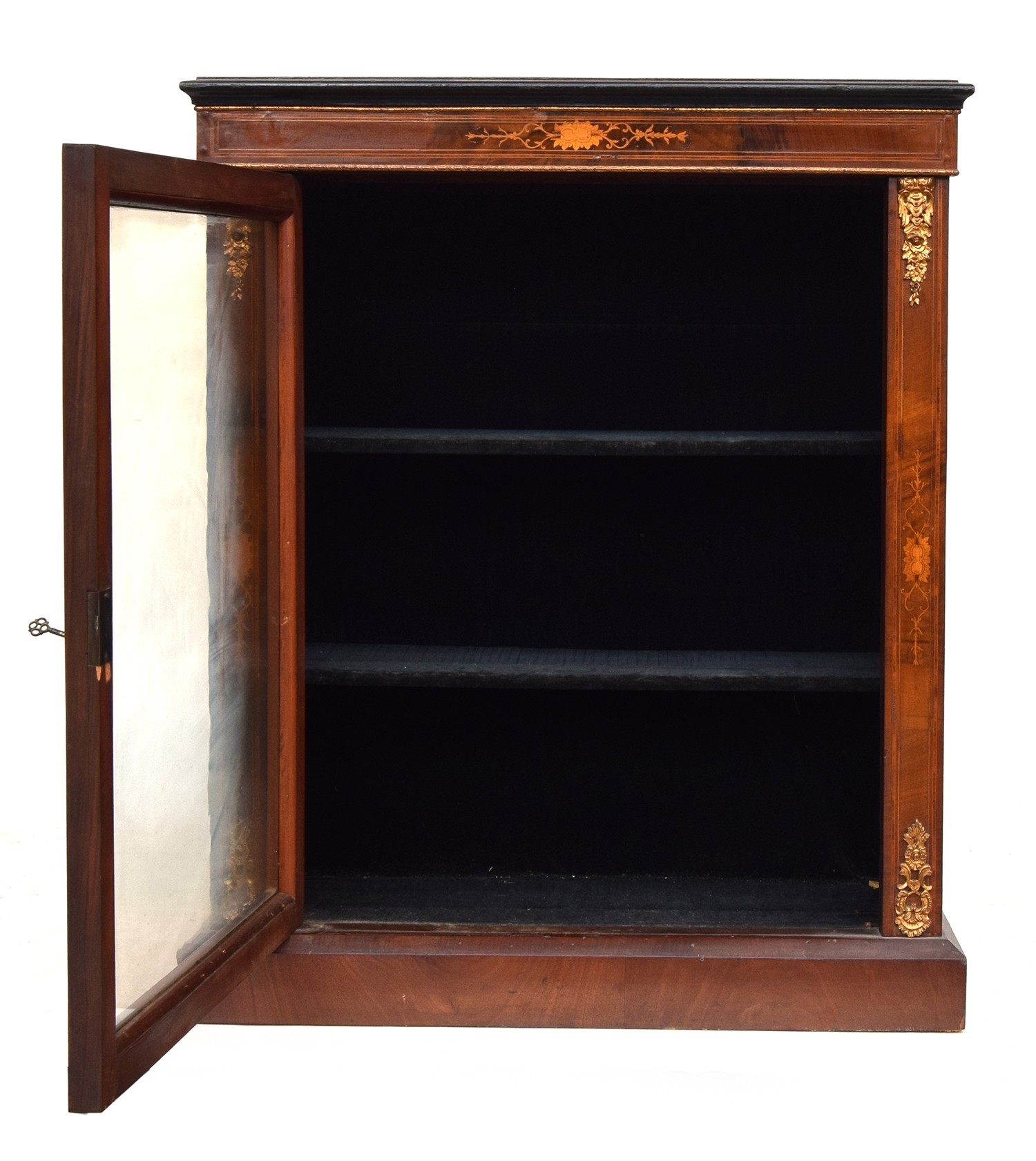 A small mahogany, marquetry and ormolu mounted glazed bookcase, the door opening to a baize lined - Image 2 of 2