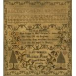 An early 19th century alphabet sampler, 'On True Happiness...' 'Uley School, Hannah Ford, Aged 9