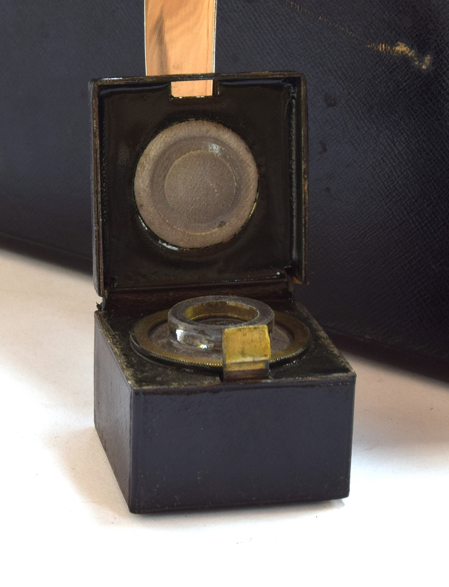 A black leather writing box by Bickers & Son, 54 Leicester Square, the brass plaque inscribed 'W. - Image 3 of 3