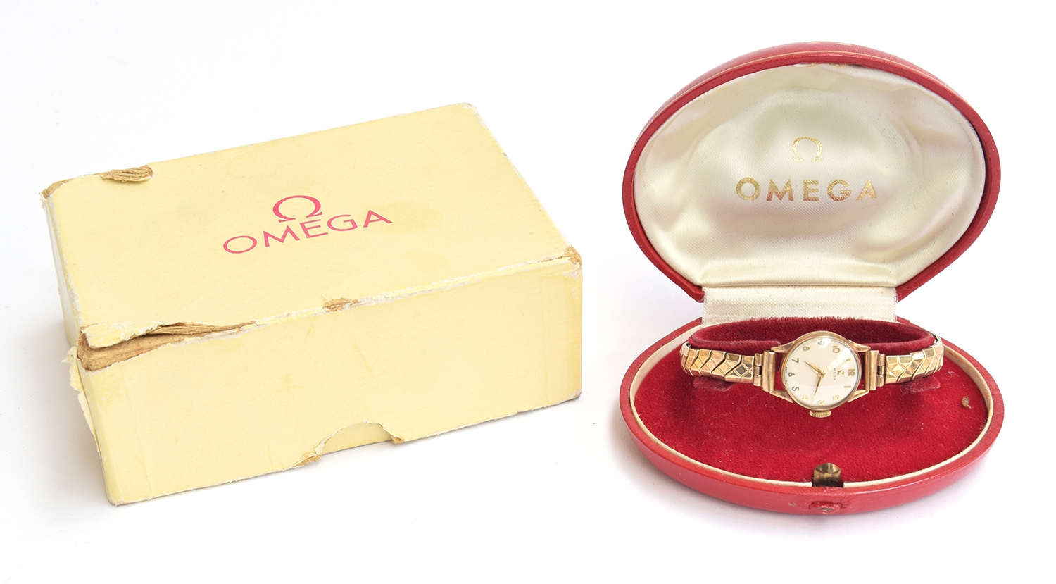 A ladies gold Omega watch on yellow metal bracelet. In original box and with paperwork - Image 2 of 2