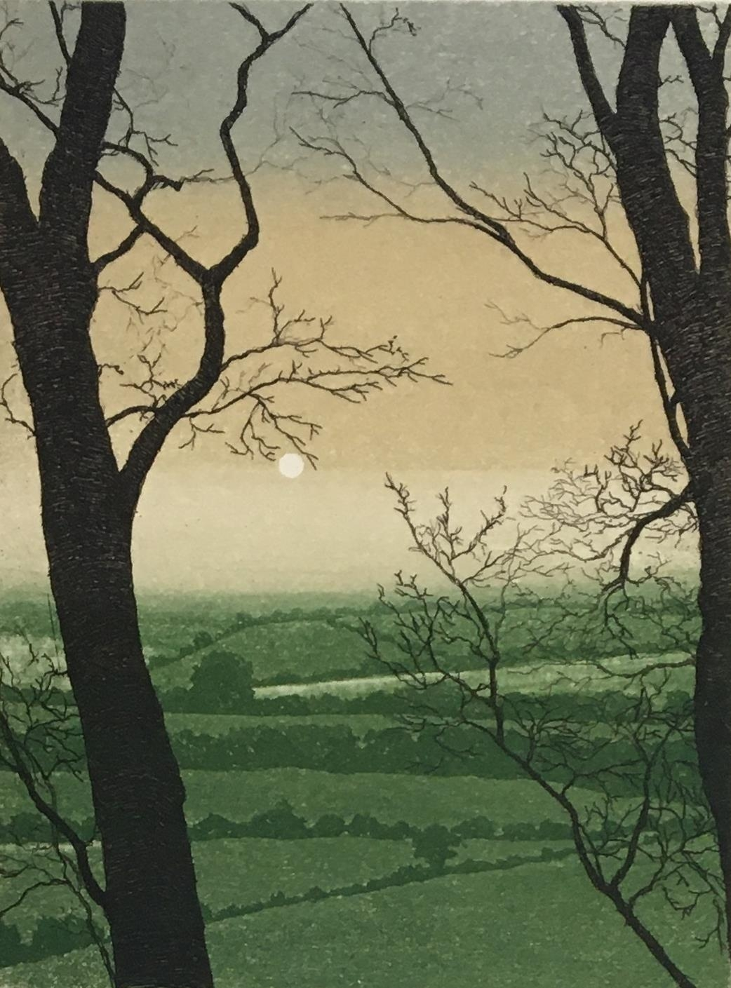 David G Beattie (b.1955) 'Valley Between' and 'Summer Solstice', coloured etchings signed and titled
