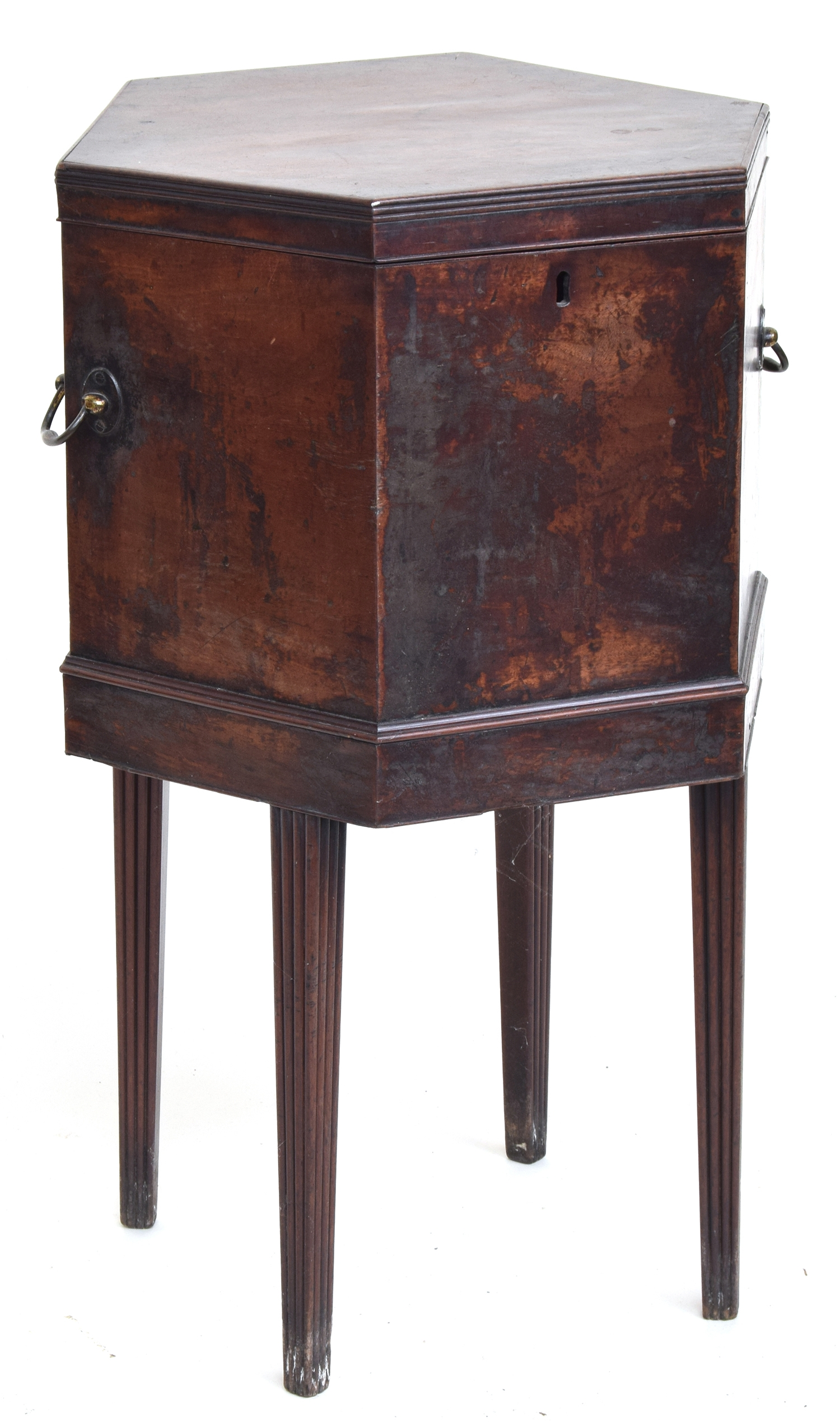 A George III mahogany hexagonal cellarette, twin brass handles, on moulded tapered legs - Image 2 of 2