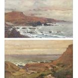 Frederick Brueton (1859-1916), a pair of coastal landscapes, probably Devon, oil on board, each
