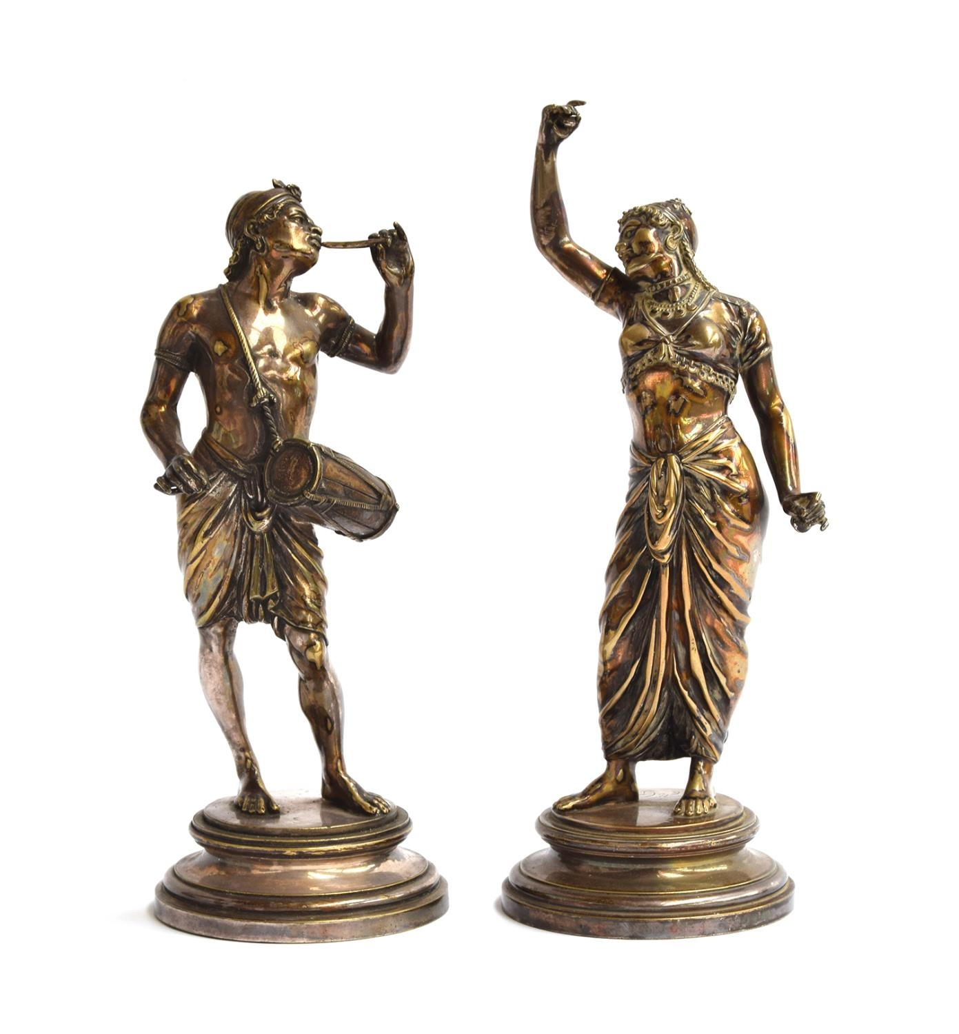 After Emile Guillemin (1841-1907), a pair of silvered bronze figures, 23cm high and 26cm high