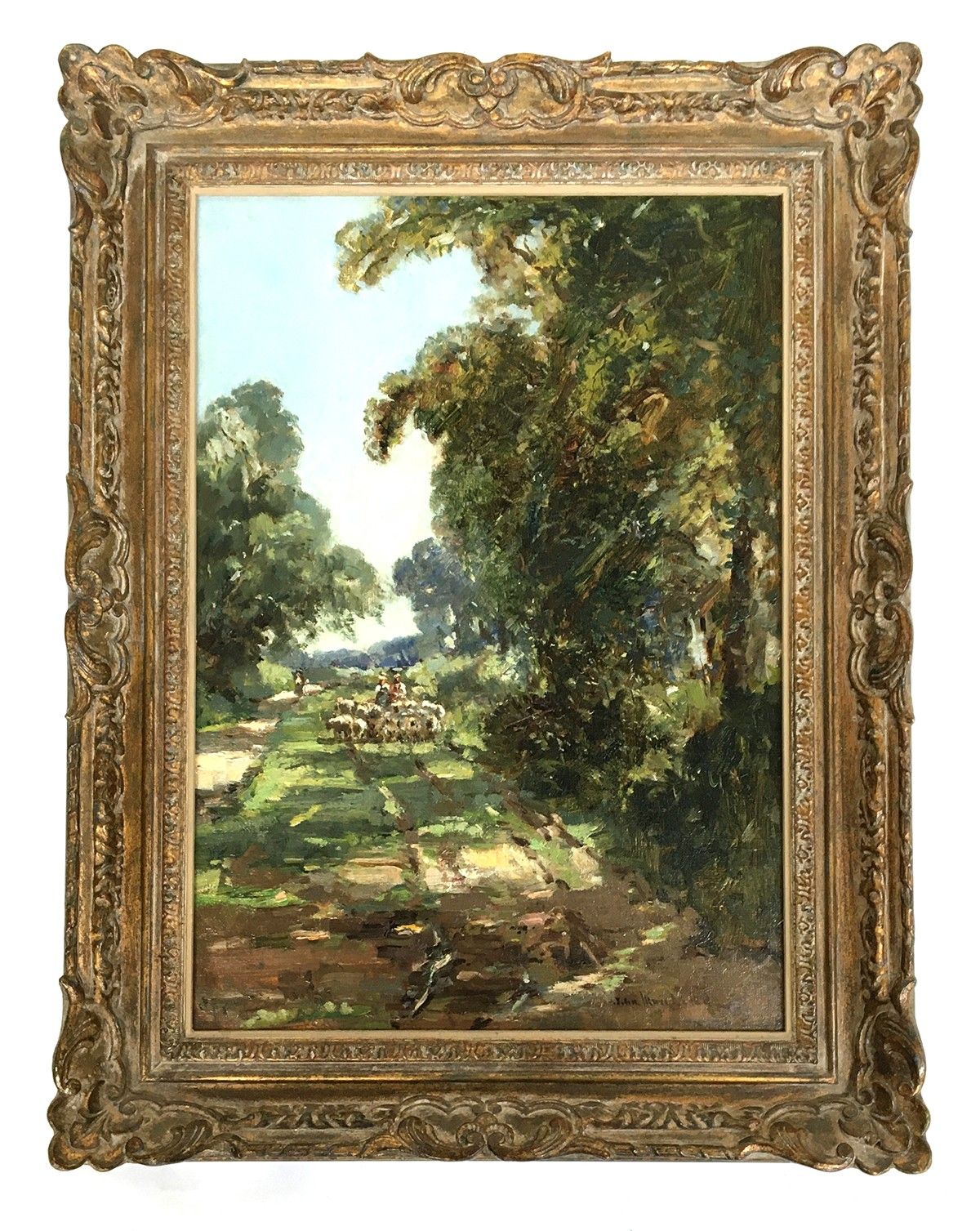 Early 20th century British, oil on board, sheep drove, signed indistinctly lower right 'John...', - Image 2 of 2