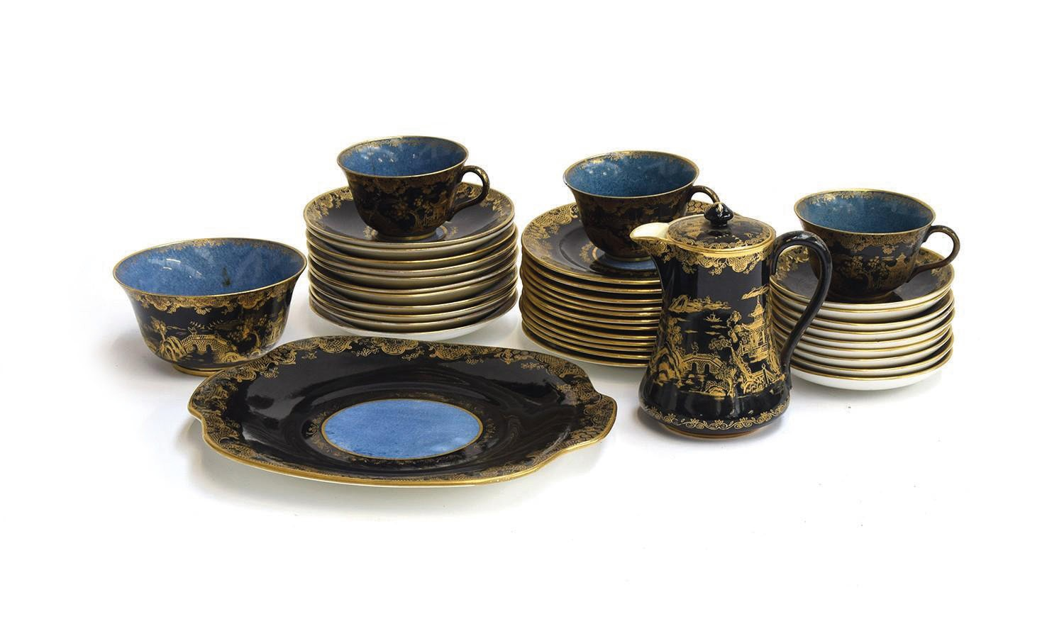An early 20th century Crown Staffordshire 38 piece part tea service, black and cobalt blue