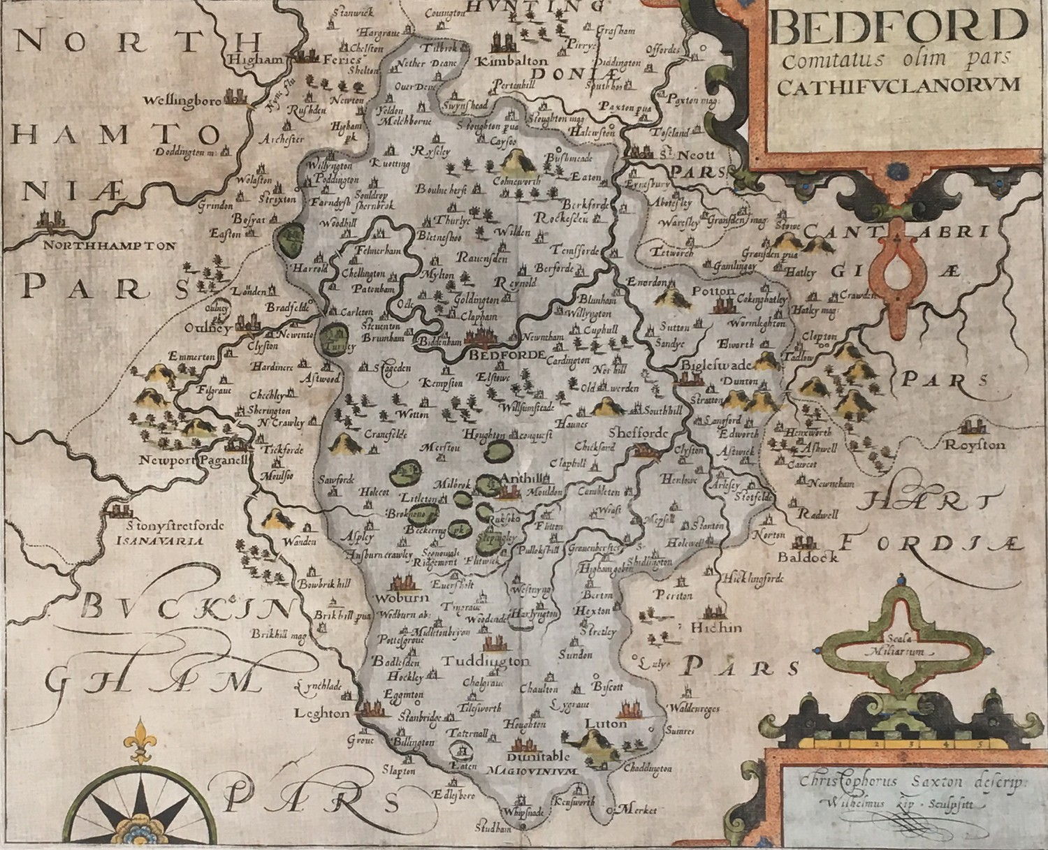 Christopher Saxton (act.c.1540-1610) with William Kip, hand coloured map of Bedford, 27.5 x 33cm