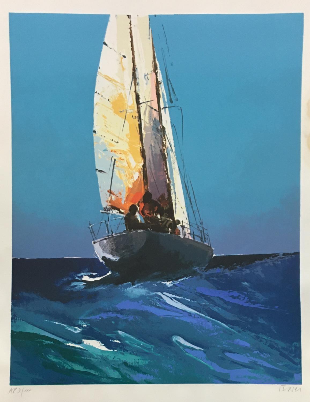 Donald Hamilton Fraser (1929-2009) Sailing, Daybreak, 1985, artist's proof II/XXV, silkscreen printe