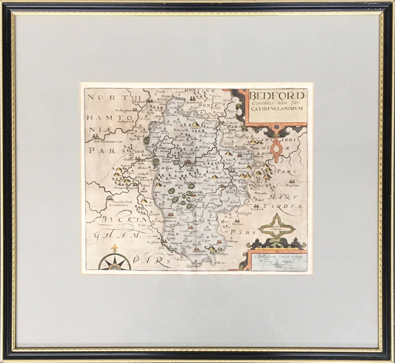 Christopher Saxton (act.c.1540-1610) with William Kip, hand coloured map of Bedford, 27.5 x 33cm - Image 2 of 2