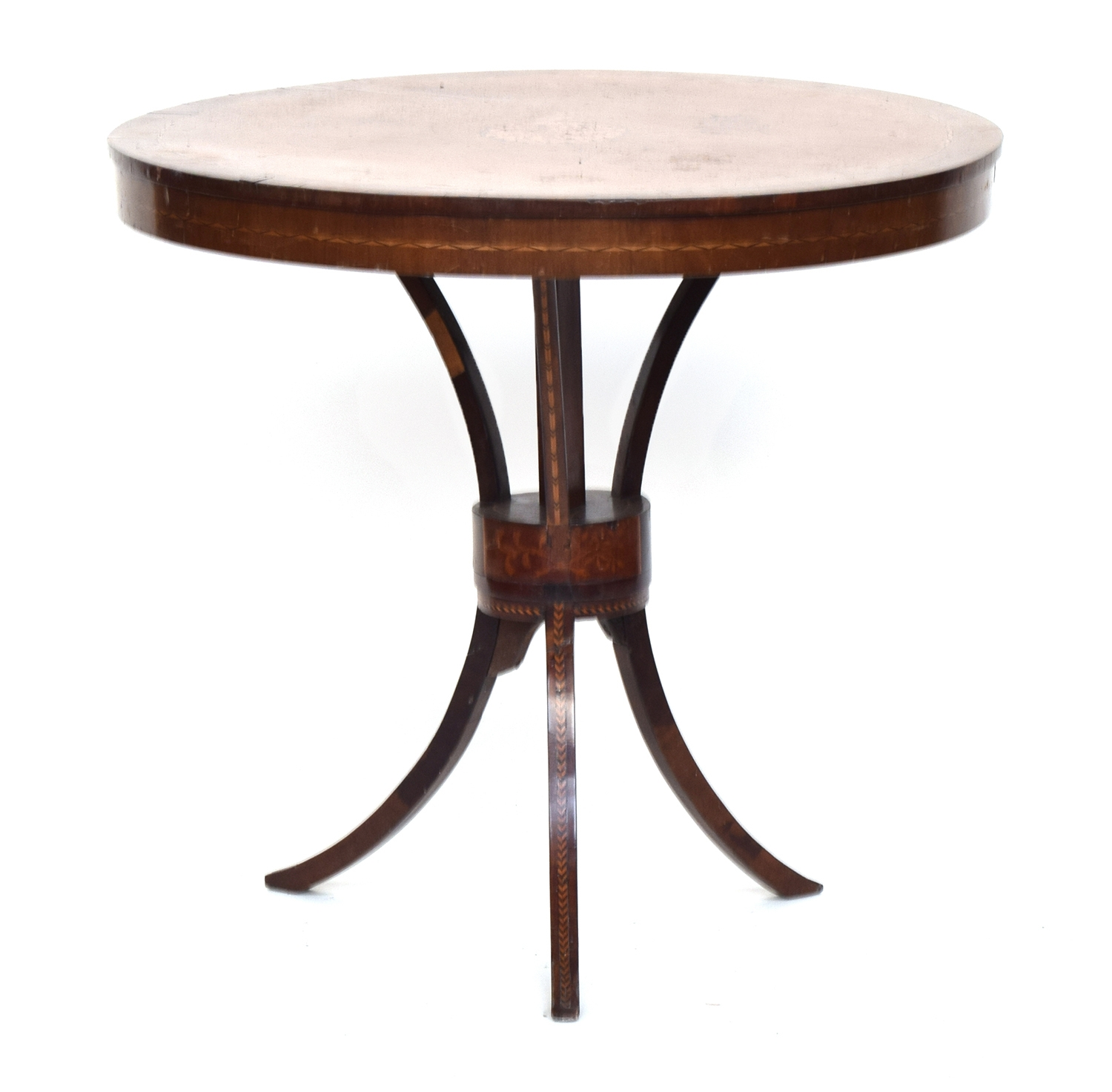 A Regency mahogany and marquetry centre table, on swept tripod base, intricate foliate central