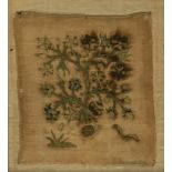 An 18th century sampler depicting wild strawberries with snails and caterpillars, 23 x 21cm
