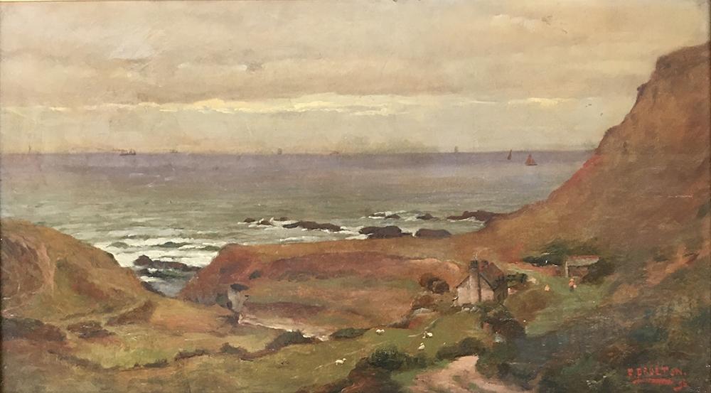 Frederick Brueton (1859-1916), a pair of coastal landscapes, probably Devon, oil on board, each - Image 2 of 5