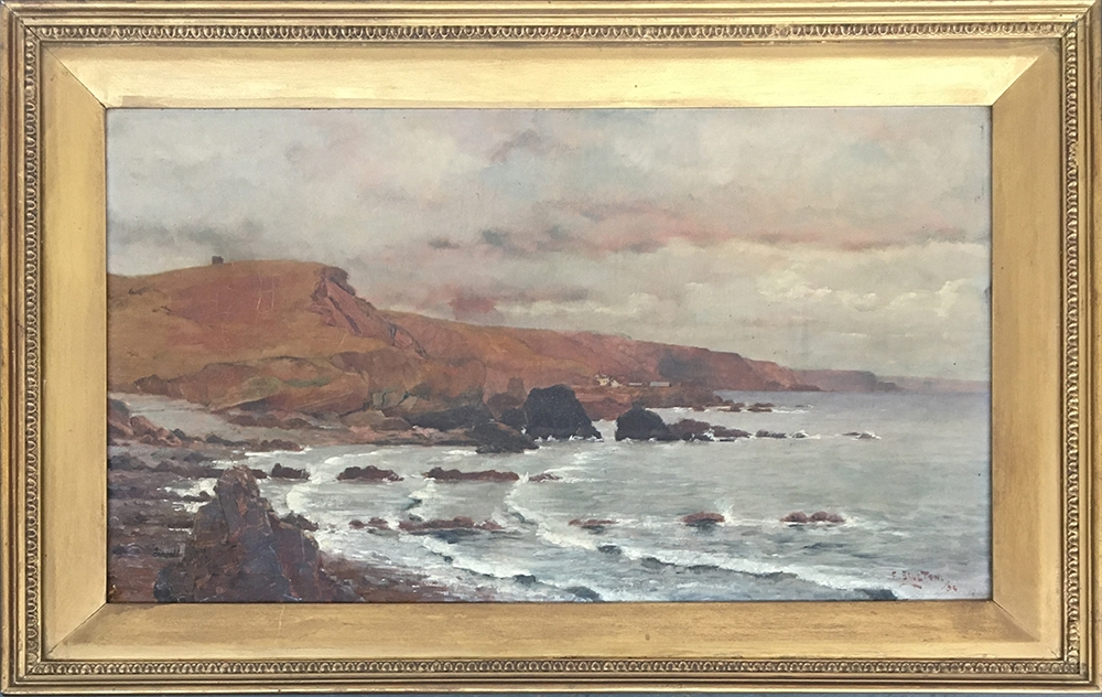 Frederick Brueton (1859-1916), a pair of coastal landscapes, probably Devon, oil on board, each - Image 5 of 5