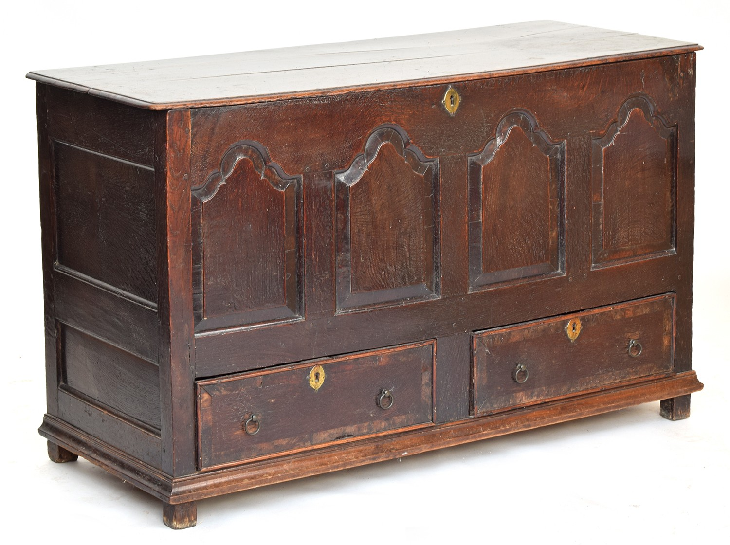 A George III four panel oak mule chest, hinged top over four shaped fielded panels, above two - Image 2 of 2