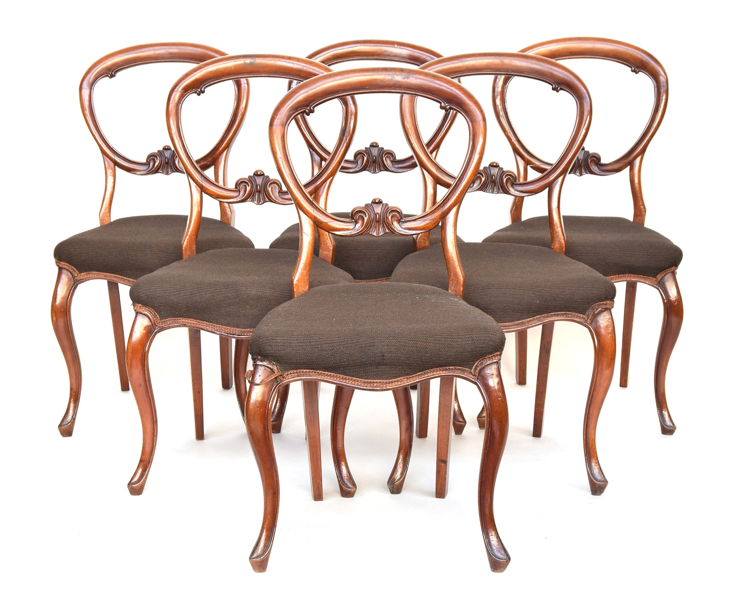 A set of six Continental recently re-upholstered 19th century balloon back dining chairs