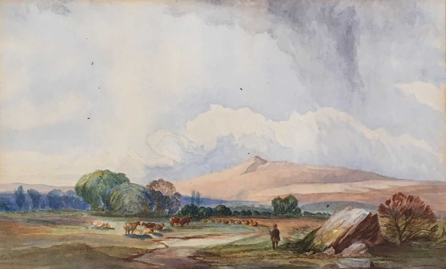 19th century English school, cattle in a landscape, watercolour on paper, 14 x 23.5cm