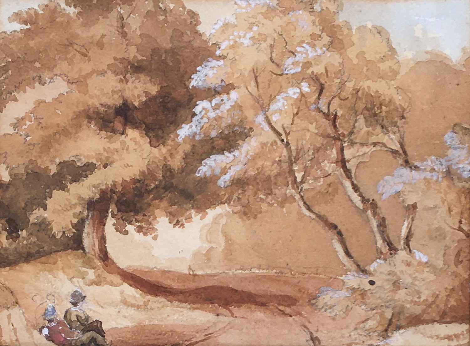 Circle of David Cox Snr. OWS (1783-1859), figures seated in woodland, watercolour heightened in
