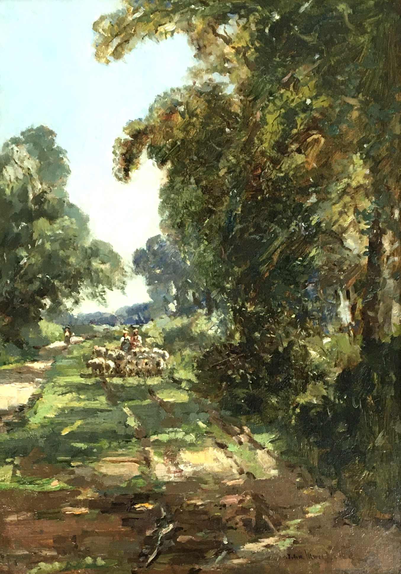 Early 20th century British, oil on board, sheep drove, signed indistinctly lower right 'John...',