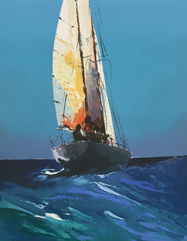 Donald Hamilton Fraser (1929-2009) Sailing, Daybreak, 1985, artist's proof II/XXV, silkscreen printe - Image 2 of 5